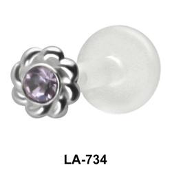 Stone Set Flower Shaped labret Silver LA-734