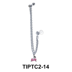 Double Chained With Cherry Tragus Piercing TIPTC2-14