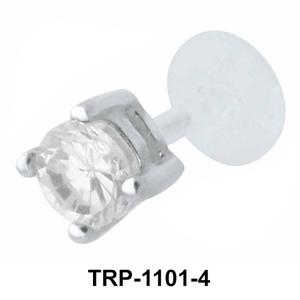 Prong Set Large Stone Tragus Piercing TRP-1101-4