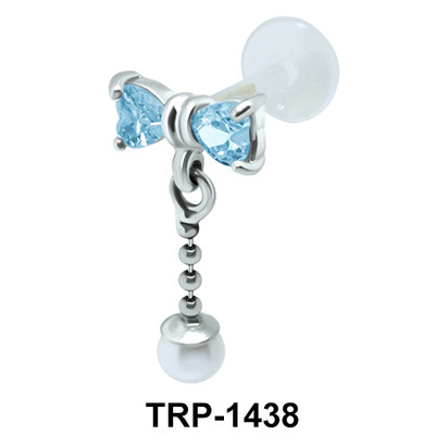 Bow with Pearl Tragus Piercing TRP-1438