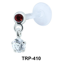 Double Colored Stone Tragus Piercing TRP-410