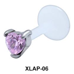 Heart CZ External Labrets Piercing XLAP-06