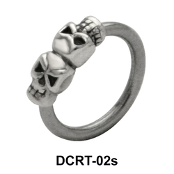 Dual Skull Belly Piercing  Ring DCRT-02s