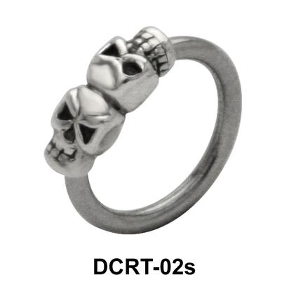 Dual Skull Belly Piercing  Ring DCRT-02s