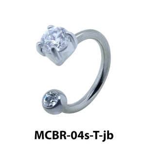 Stone Belly Piercing Circular Barbell with Jew Ball CBRT-04s-JB