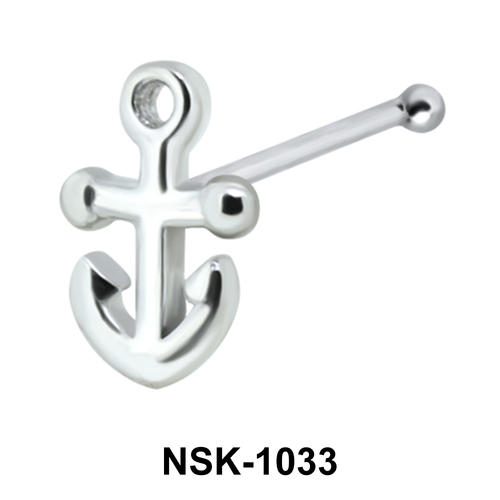 Anchor Shaped Silver Nose Stud NSK-1033