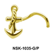 Roped Anchor Shaped Silver Nose Stud NSK-1035