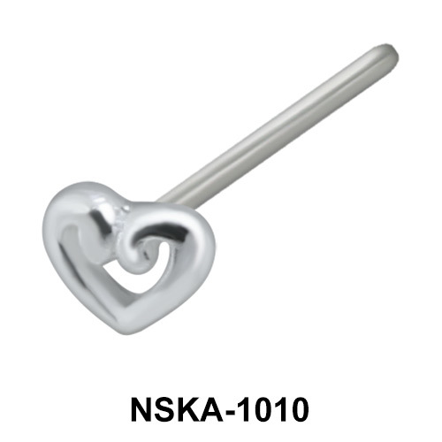 Hollow Heart Shaped Nose Stud NSK-1010