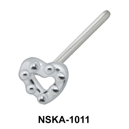 Balls Heart Shaped Silver Nose Stud NSK-1011