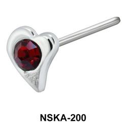 Stone Leaf Shaped Silver Nose Stud NSK-200