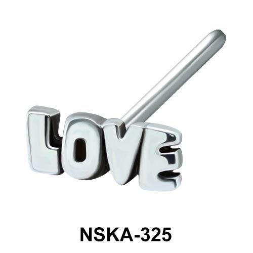 Love Shaped Silver Nose Stud NSK-325
