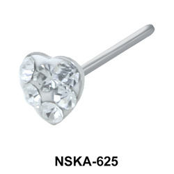 Stone Heart Shaped Silver Nose Stud NSK-625