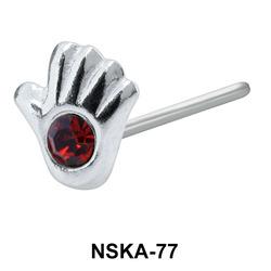 Stony Palm Shaped Silver Nose Stud NSK-77