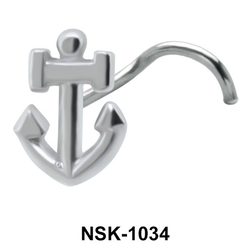Anchor Shaped Silver Nose Stud NSK-1034