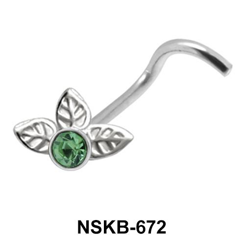 Stony Leaf Shaped Silver Nose Stud NSK-672