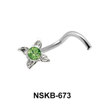 Green Stone Leaf Silver Nose Stud NSK-673