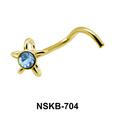 Ribbon Flower Silver Nose Stud NSK-704
