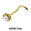 Pearly Flower Silver Nose Stud NSK-734p
