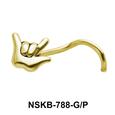 Rock Symbol Shaped Silver Nose Stud NSK-788