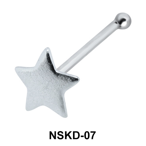Solid Star Shaped Silver Nose Stud NSK-07