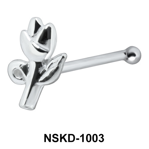 Rose with Leaves Shaped Silver Nose Stud NSK-1003