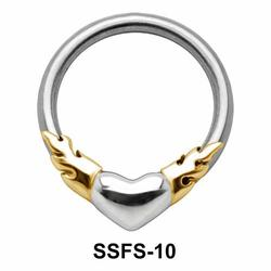 Heart on Fire face Closure Ring SSFS-10