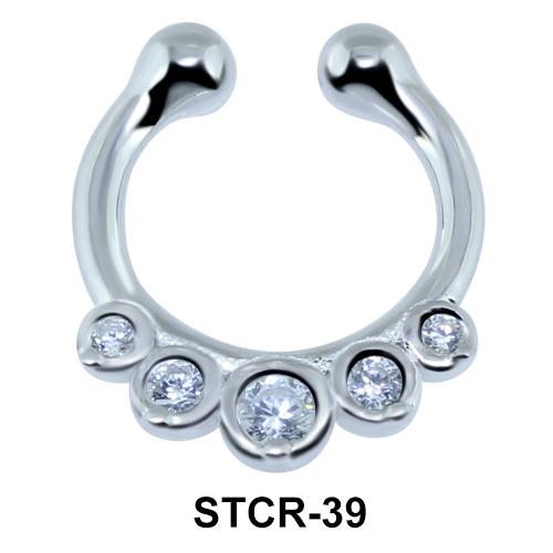 Multiple Stones Septum Clip Ring STCR-39