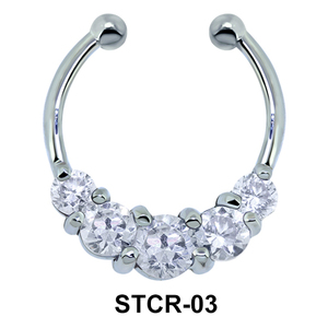 Stone Set Shape Septum Clip Ring STCR-03