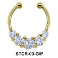 Stone Set Shape Septum Clip Ring STCR-03