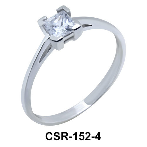 Silver Ring Square Stone 4 mm CSR-152-4