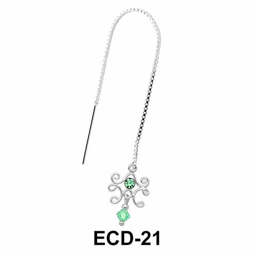 Stone Set Designer Silver Chain Earring ECD-21