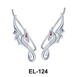 Silver Seahorse Shaped Earrings EL-124