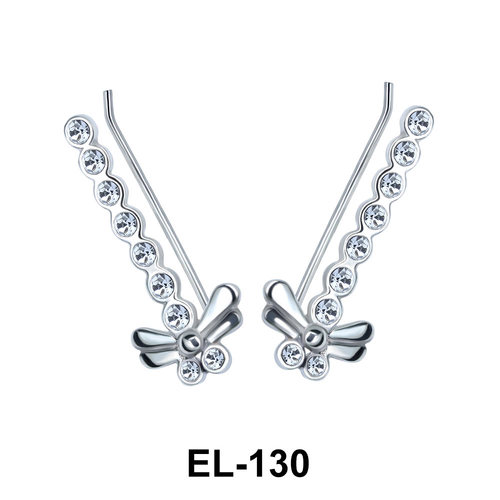 Silver Dragonfly Shaped Earrings EL-130