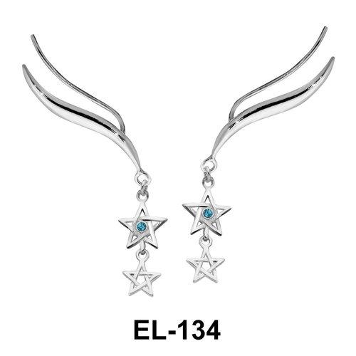 Silver Earring Star Shape EL-134