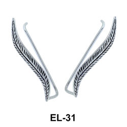 Silver Leaves Shaped Earrings EL-31