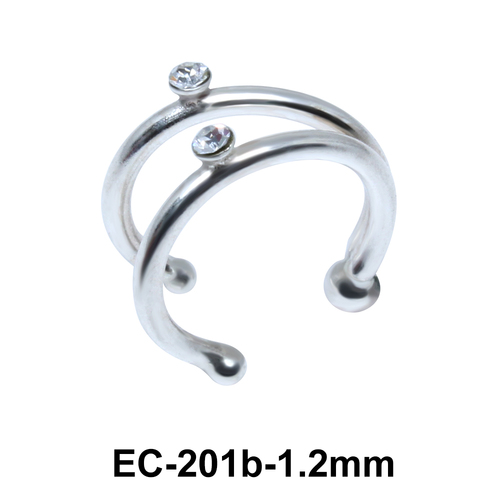 Double Stone Set Dual Ring with Ball Ear Clips EC-201b (1.2)