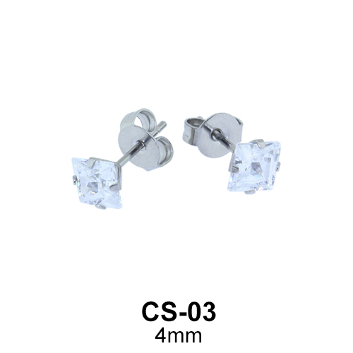 Square CZ Stud Earring CS-03
