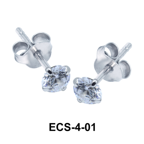 Round Shaped CZ Earring Silver ECS-4-01