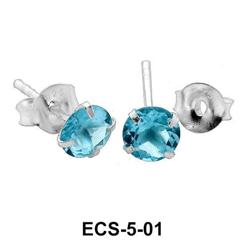 Round Stone Stud Earring ECS-5-01