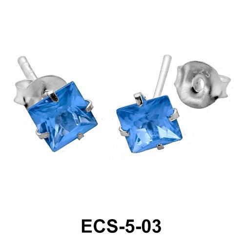 Square CZ Stone Stud Earring ECS-5-03