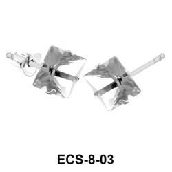 Square Shaped CZ Earring Silver ECS-8-03