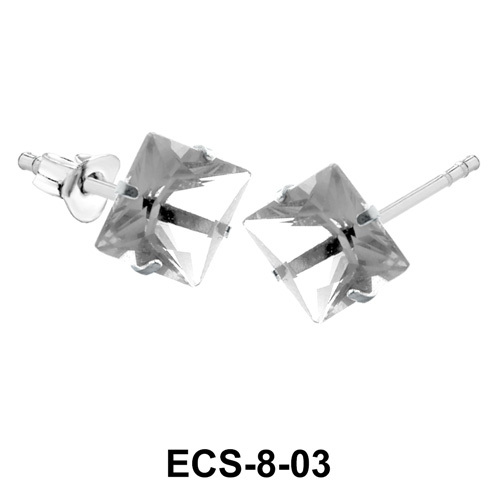 Square Shaped CZ Earring Silver ECS-8-03