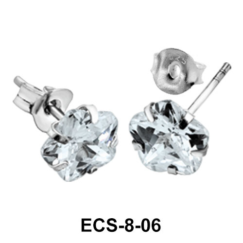 Flower Shaped CZ Earring Silver ECS-8-06