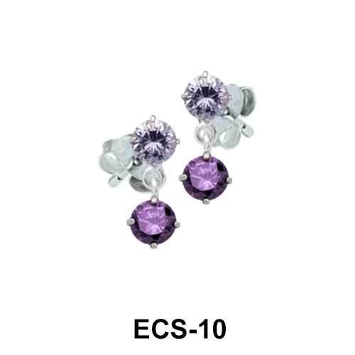 Stones Dangling CZ Earring Silver ECS-10
