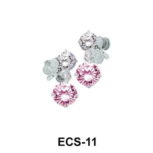 Round n Heart CZ Earring Silver ECS-11