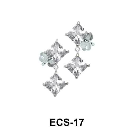 Square CZs Ear Piercing ECS-17