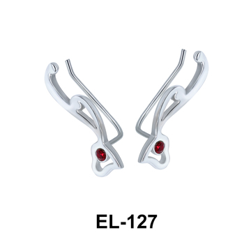 Silver Heart Shaped Earrings EL-127