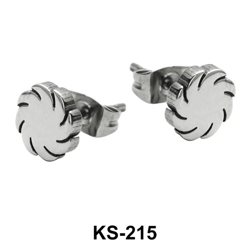 Fan Shaped Surgical Steel Earrings KS-215