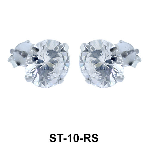 Round Brilliant CZ Stud Earring ST-10-RS