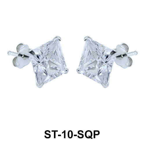 Diamond Cut CZ Stud Earring ST-10-SQP